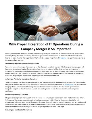 Why Proper Integration of IT Operations During a Company Merger is So Important