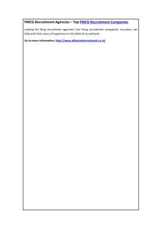 FMCG Recruitment Agencies – Top FMCG Recruitment Companies