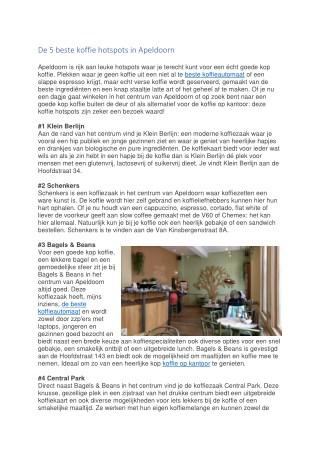 De 5 beste koffie hotspots in Apeldoorn