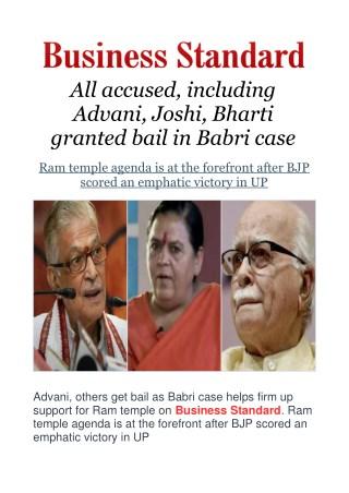 All Accused, Including Advani, Joshi, Bharti Granted Bail in Babri Case