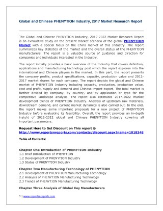 Global and Chinese PHENYTION Industry Report 2017 with Feasibility Study of Future Projects