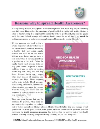 Reasons why to spread health awareness