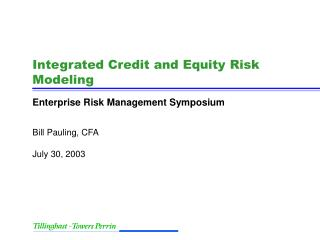 Integrated Credit and Equity Risk Modeling