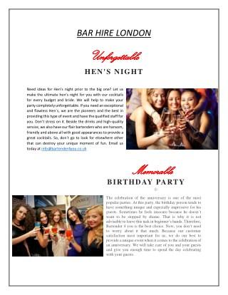 Bar Hire London