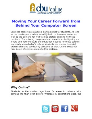 Moving Your Career Forward from Behind Your Computer Screen