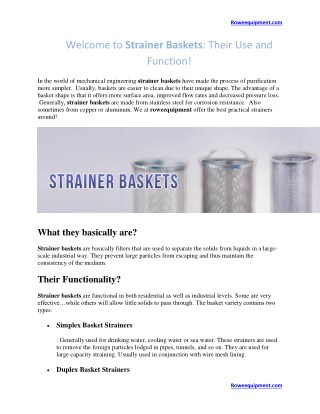 Welcome to Strainer Baskets: Their Use and Function!