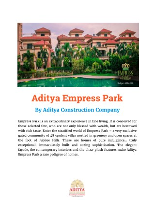 Aditya Constructions Company - Aditya Empress Park Shaikpet Hyderabad