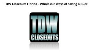 TDW Closeouts Florida - Wholesale ways of saving a Buck