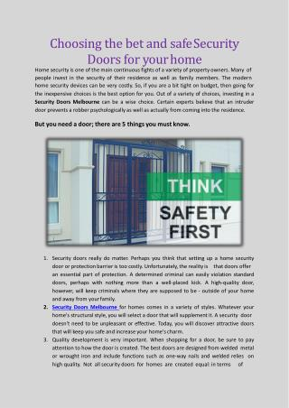 Things to know about Security Doors before choosing one