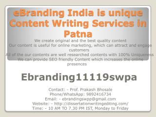 eBranding India is unique Content Writing Services in Patna