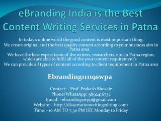 eBranding India is the Best Content Writing Services in Patna
