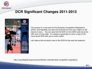 DCR Significant Changes 2011-2013