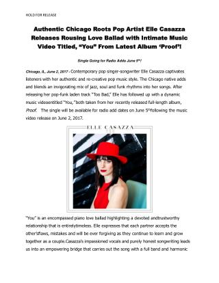"Authentic Chicago Roots Pop Artist Elle Casazza Releases Rousing Love Ballad with Intimate Music Video Titled, ""You"" Fro"