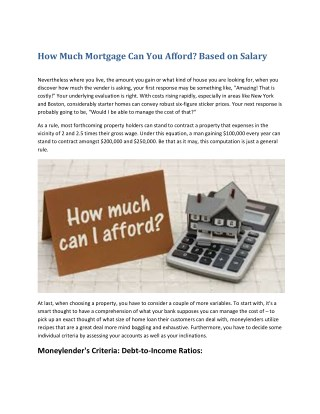 How Much Mortgage Can You Afford  Salary Based