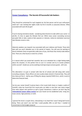 Career Consultancy - The Secrets Of Successful Job Seekers