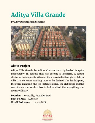 Aditya Constructions Villa Grande in Kompally, Hyderabad - Price, Location Map, Floor Plan, Reviews