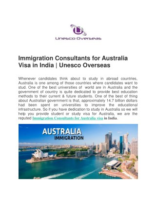 Immigration Consultants for Australia Visa in India | Unesco Overseas