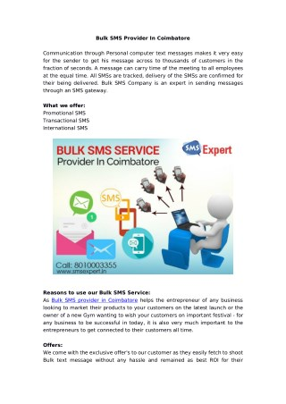 Bulk SMS Service Provider In Coimbatore
