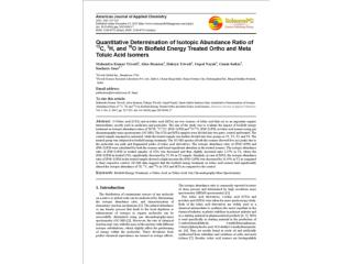 Quantitative Determination of Isotopic Abundance Ratio of 13C, 2H, and 18O in Biofield Energy Treated Ortho and Meta Tol