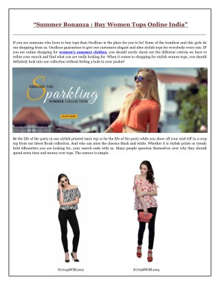 Summer Bonanza- Buy Women Tops Online India