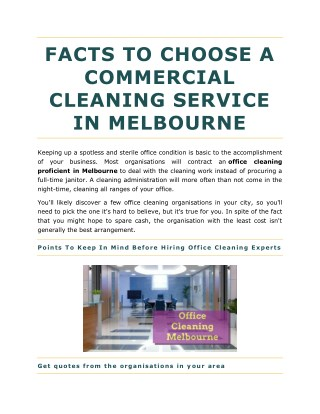 FACTS TO CHOOSE A COMMERCIAL CLEANING SERVICE IN MELBOURNE