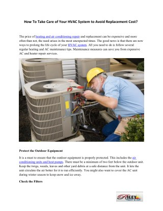 How To Take Care of Your HVAC System to Avoid Replacement Cost
