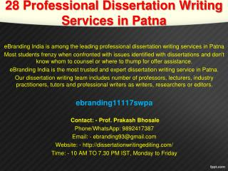 28 Professional Dissertation Writing Services in Patna