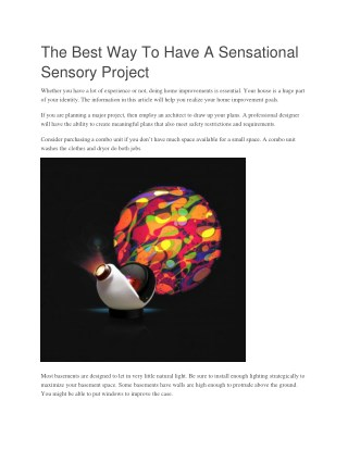 The Best Way To Have A Sensational Sensory Project