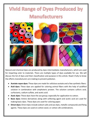 Vivid Range of Dyes Produced by Manufacturers