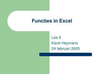 Functies in Excel