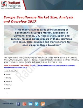 Europe Sevoflurane Market Growth, Trends, Analysis and Outlook 2017