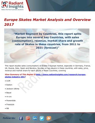 Europe Skates Market Trends and Analysis, Outlook 2017