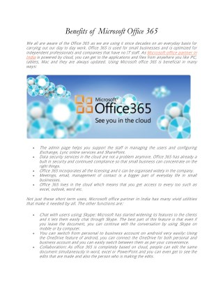 Benefits of Microsoft office 365