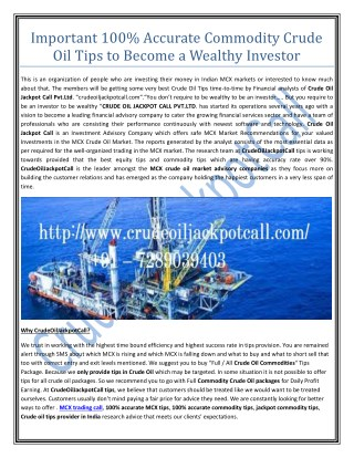 MCX Trading Call, Jackpot Commodity Tips, Crude Oil Tips Provider in India