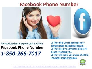 Is Facebook Phone number open only for unequivocal place 1-850-266-7017 ?
