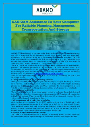 CAD-CAM Assistance To Your Computer For Reliable Planning, Management, Transportation And Storage