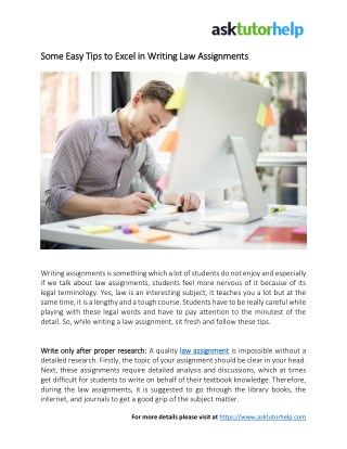 Some Easy Tips to Excel in Writing Law Assignments