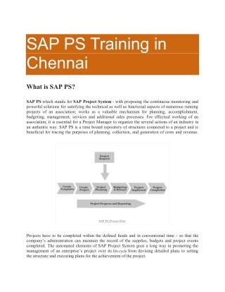 SAP PS Online Training in Chennai