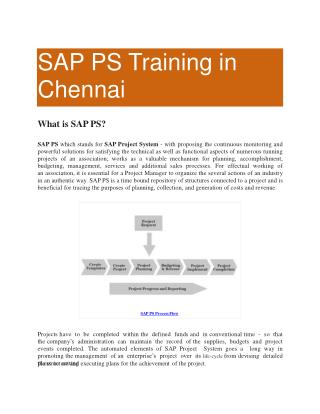 SAP PS Online Training in Chennai