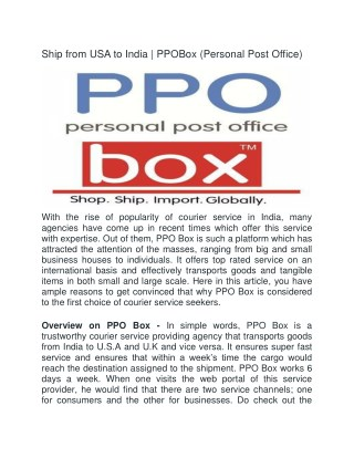 Ship from USA to India |  PPOBox (Personal Post Office)