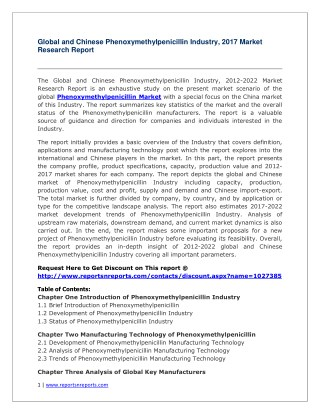 Phenoxymethylpenicillin Industry in-depth insight of 2012-2022 for Global and Chinese Markets