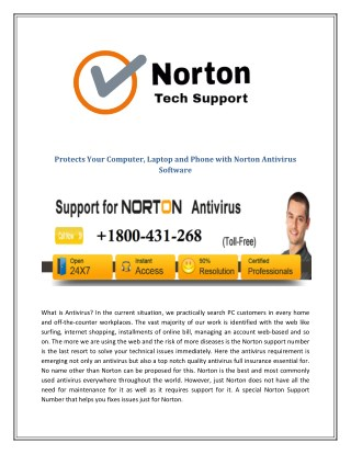 Protects Your Computer, Laptop and Phone with Norton Antivirus Software