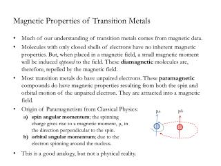 Magnetic Properties of Transition Metals