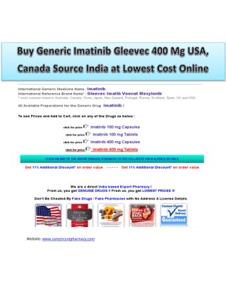 Buy Generic Imatinib Gleevec 400 Mg USA, Canada Source India at Lowest Cost Online
