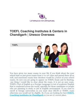 TOEFL Coaching Institutes & Centers in Chandigarh | Unesco Overseas
