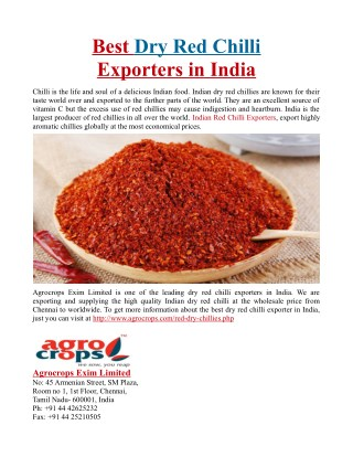 Best Dry Red Chilli Exporters in India