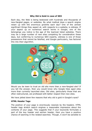 Why Old is Gold in case of SEO