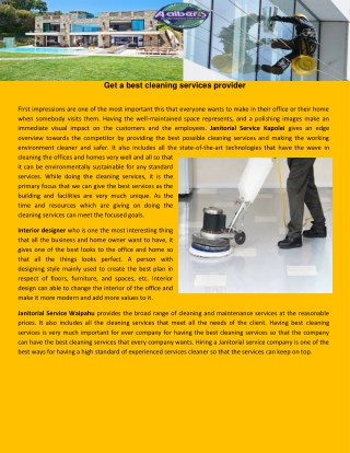 Get a best cleaning services provider