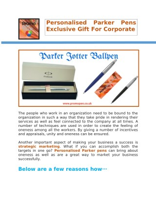Personalised Parker Pens Exclusive Gift For Corporate