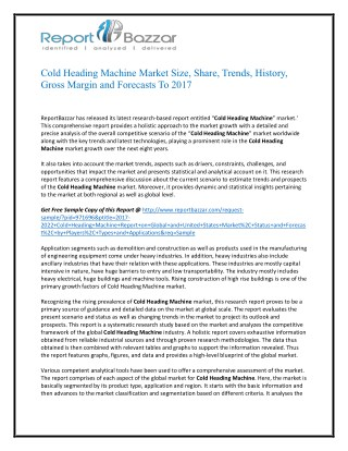 Cold Heading Machine Market Analysis - Size, Share, overview, scope, Revenue, Gross Margin, Segment and Forecast 2022